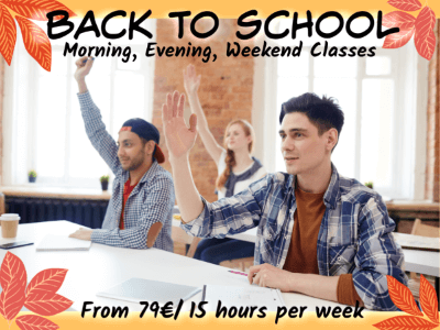 Back to School promo 2019 on part-time and full-time English classes in Dublin
