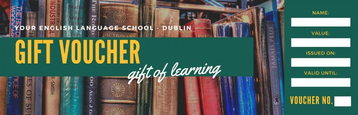 A gift voucher for English classes in Dublin