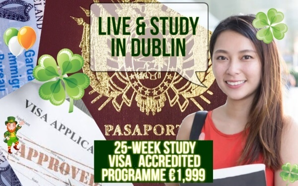 Study visa accredited banner with some information about English classes for non-EU foreignes in Dublin