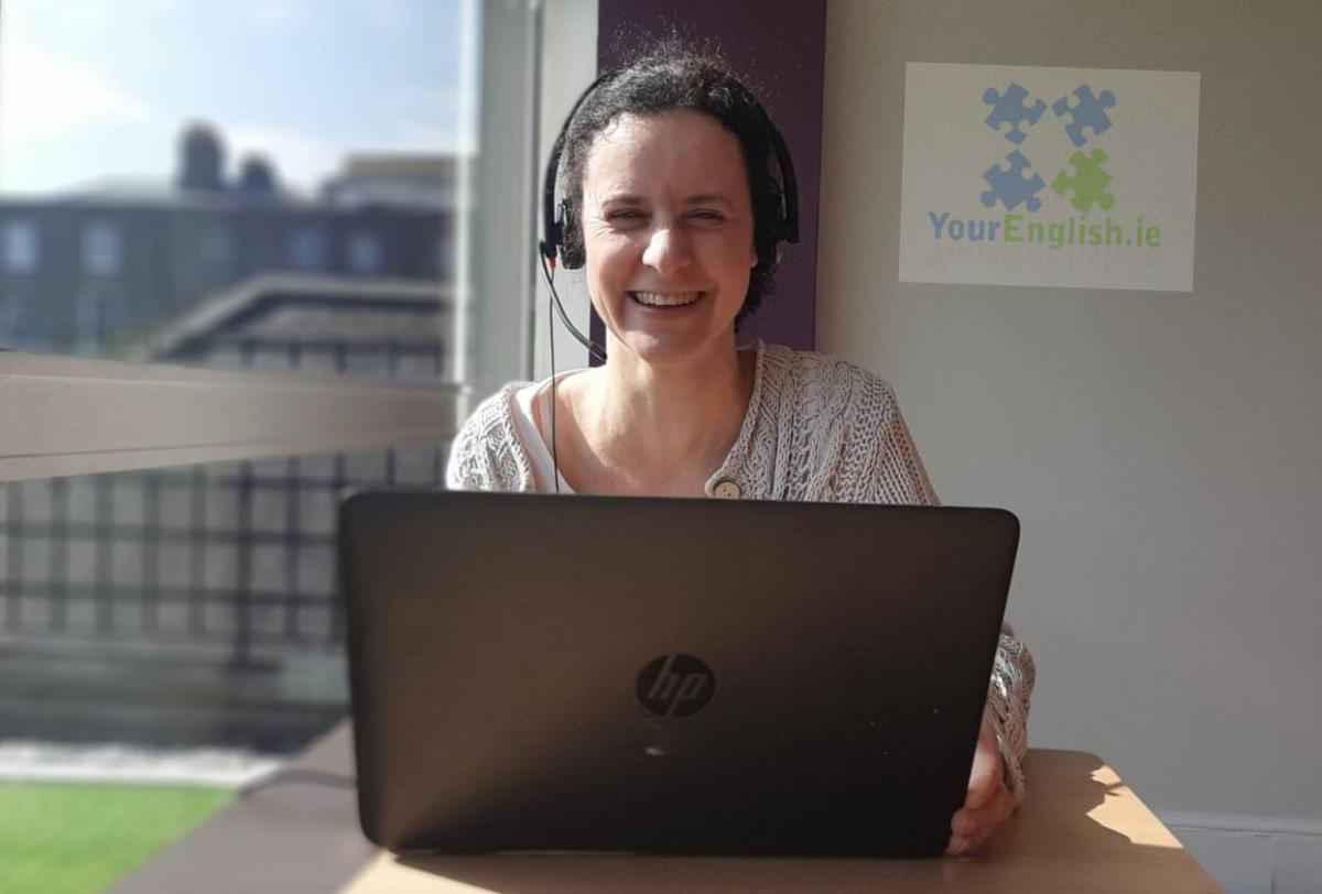 A teacher of English providing an online English class remotely to students of Your English Language School in Dublin